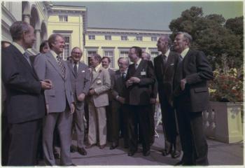 G7-top in Bonn, West-Duitsland, 1978, links Takeo Fukuda en Jimmy Carter, rechts Valery Giscard d'Estaing: Helmut Schmidt